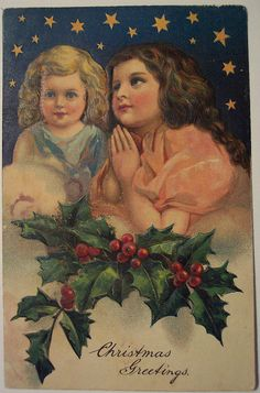 Vintage Christmas postcard ~ girls praying * 1500 free paper dolls Christmas gifts artist Arielle Gabriels The International Paper Doll Society also free paper dolls The China Adventures of Arielle Gabriel * Christmas Ecards, Christmas Past, Victorian Christmas, Vintage Christmas Cards, Christmas Images, Vintage Holiday, Christmas Greeting Cards, Christmas Angels, Christmas Greetings