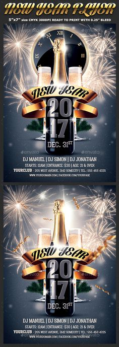 New Year 2016 Nye Flyer Template Flyer template, Year 2016 and Nye - new year brochure template