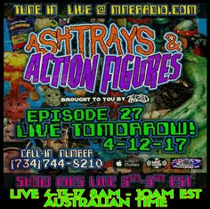 Get on to it! Ashtrays & Action Figures airs LIVE April 12, 6pm - 8pm Detroit Time, April 13, 8am - 10am EST Australian Time!  #SuperLo reppin the #MajikNinjaAustralia #StreetTeam #yearofthesword #ForMuthaFuckinLife