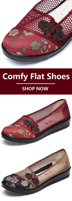 Vintage Retro Mesh Breathable Slip On Flat Shoes.Size From US 5 To US Red And Brown Colors For Options. Source by newchicstylist Fashion summer Trendy Shoes, Cute Shoes, Me Too Shoes, New Chic Shoes, Comfy Shoes, Comfortable Shoes, Vintage Shoes, Retro Vintage, Loafer Shoes