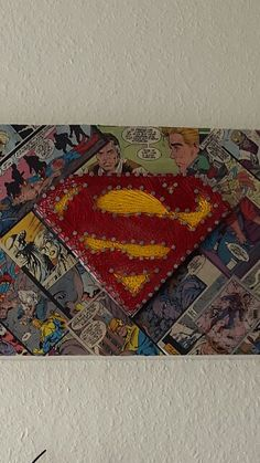 Superman string art with vintage comic decoupage background