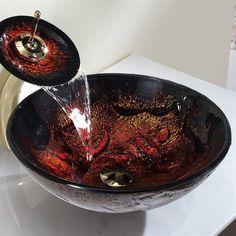 Copper Lava Glass Vessel Sink