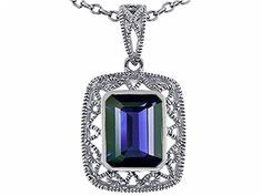 Star K Emerald Cut Genuine Iolite Pendant 10k White Gold *** Check out the image by visiting the link.