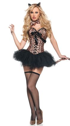 Wholesale Leopard Cat Girls Halloween Costumes 2014 Sexy Corsets Uniform at  Dressmini.com Disfraces Para 198baf0c37e0