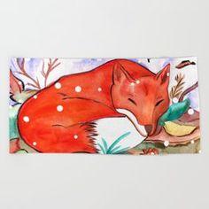 Fox of Autumn Beach Towel