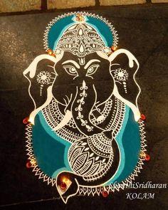 Easy Rangoli Designs Diwali, Free Hand Rangoli Design, Beautiful Rangoli Designs, Simple Rangoli, Ganesha Rangoli, Indian Rangoli, Art N Craft, Textiles, Crafts