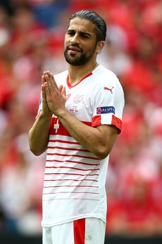 Ricardo Rodriguez of Switzerland reacts during the UEFA EURO 2016 Group A match between Albania and Switzerland at Stade Bollaert-Delelis on June 11, 2016 in Lens, France.