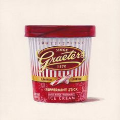 peppermint stick ice cream was my favorite for many years. The Taste of America - joelpenkman Joel Penkman, Ice Cream Illustration, Peppermint Sticks, Still Life Drawing, Food Painting, Food Drawing, Ben And Jerrys Ice Cream, Food Packaging, Food Illustrations
