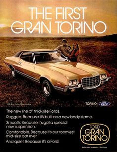 size: Stretched Canvas Print: Ford 1972 Gran Torino : Using advanced technology, we print the image directly onto canvas, stretch it onto support bars, and finish it with hand-painted edges and a protective coating. Mid Size Car, Pub Vintage, Ford Classic Cars, Classic Auto, Ford Torino, Ford Fairlane, Car Advertising, Us Cars, Ford Motor Company