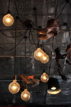 Very cool industrial pendant lighting at Shoes and Cork Coffee and Wine Bar in Leesburg, Virginia. Industrial Pendant Lights, Pendant Lighting, Wine Cork Jewelry, Best Wine Clubs, Bar Interior, Coffee Design, Ceiling Lights, Cool Stuff, Leesburg Virginia