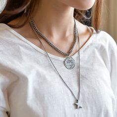 Star & Coin Layered Vintage Chain Long Necklace by MAPSYstore, $18.80