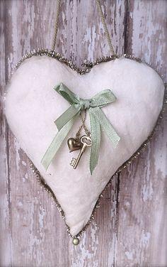 Vintage Flocked Heart Ornament - Shabby Chic Decor - Heart Pillow Ornament - Vintage Valentines Day. $6.00, via Etsy.
