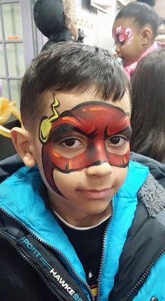 Flash face painting. superhero, face painting ideas. boy designs
