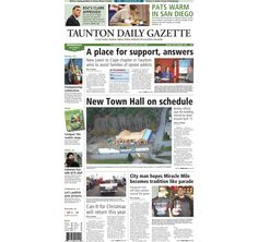 The front page of the Taunton Daily Gazette for Wednesday, Dec. 3, 2014.