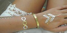 Gold Temporary Tattoo, Boho, Hair Makeup, Make Up, Bracelets, Silver, Tatoos, Jewelry, Ideas Para