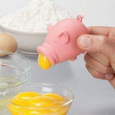 Details about YolkPig Egg Separator Yolk Pig Kitchen Gadget Kitchenware Eggs Cooking Peleg New - Tie Tutorial and Ideas Pig Kitchen, Kitchen Utensils, Kitchen Tools, Kitchen Decor, Kitchen Interior, Kitchen Ideas, Quirky Kitchen, Funny Kitchen, Kitchen Products