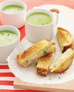 Green-Pea Soup with Cheddar-Scallion Panini - This is made with frozen green peas, not split peas, so it's a fresh and delicious with the natural sweetness of peas.