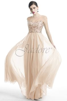 J5024 in Blush with beaded bodice for prom.  Available in sizes 2 - 30 www.jadoreevening.ca for a full listing of boutiques that carry our collections in Canada contact us directly for USA boutiques!