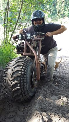 Moto-Gote It is a 2wd motorcycle of my own design with single sided frame/forks using 1000 lb trailer hubs. http://www.pirate4x4.com/forum/showthread.php?t=2197833