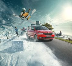 Skoda Rapid on Behance Car Advertising, Advertising Design, Skoda Fabia, Ads Creative, Automotive Photography, Motion Design, Photo Manipulation, Subaru, Graphic Design
