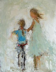 """The First Time - SOLD14x11""""  Oil & Mixed Media  Holly Irwin, artist"""
