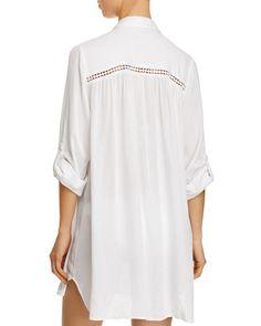 7e847cb7bce6f Tommy Bahama Shirred Boyfriend Shirt Swim Cover-Up - Black Xs Swim Cover
