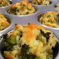 Broccoli & Cauliflower Baked Cheesy Rice Cups  1 1/2 cups cooked rice  2 cups cooked broccoli and cauliflower, chopped  1/3 cup Ranch salad dressing  2 eggs, beaten  Beazell's Cajun Seasoning  1/2 cup shredded cheddar cheese    Variation: Add chopped chicken, turkey, shrimp, crawfish or lump crab meat.