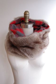 Faux Fox Fur with Red Plaid Tuesday Cowl Scarf by tuesdayshop