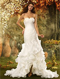 Trumpet/Mermaid Sweetheart Asymmetrical Organza Wedding Dre... – USD $ 299.99