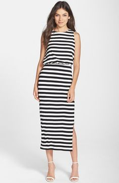 Adelyn Rae Stripe Blouson Midi Dress available at #Nordstrom