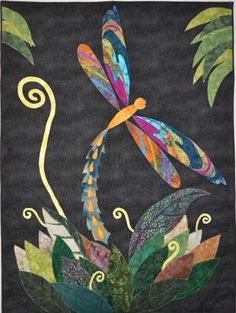 "Dragonfly was based on a Jean Wells quilt from the book ""Garden Inspired Quilts"""