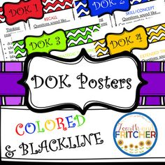 """Rigor, Rigor, All Around!Use these DOK Posters to help your students understand the 4 levels of Webb's Depth of Knowledge.Each poster has two sections. One section that states """"Thinking requires you to... (draw, identify, conclude, critique, etc...)""""  The other section gives students examples of question stems for that DOK level.This product contains posters for a bulletin board and half sheet versions that you can use to make a booklet."""