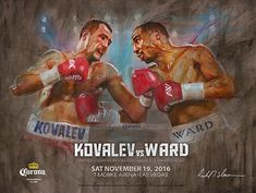 A brand new official and authentic fight poster of Sergey Kovalev vs. Andre Ward. This poster was only available at the fight and is a rare collectors item. Size: 18 x 24 InchesHigh quality poster with a UV glossy finish.Condition: NEWShipped in a plastic sleeve and heavy duty tube. ABOUT THE ARTIST: Richard T. Slone is the premier boxing artist in the world and has gained the attention of the fine art world through his powerful paintings. He is the Official International Boxing Hall of Fame art Sergey Kovalev, World Boxing, Fighting Poses, Fight Night, World Championship, Beautiful Paintings, Art World, Baseball Cards, Fine Art
