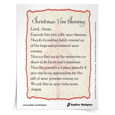 download a christmas tree blessing prayer cards and use it as part of your home or class celebration catholics prayer