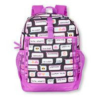Girls Text Emoji Print Backpack