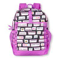 Girls Text Emoji Print Backpack