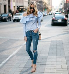 ruffled one shoulder top with skinny jeans