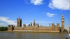 The Palace of Westminster in London houses the British Parliament.