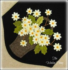 Picking Daisies PATTERN finished size 9 34 wide x 24 long.I stitched this up using all 100 wool, but wool felt can easily be substituted for some or all of the wool requirements. Feel free to email me with any questions you may have Penny Rug Patterns, Wool Applique Patterns, Felt Applique, Quilt Pattern, Print Patterns, Wool Quilts, Wool Fabric, Wool Rugs, Felted Wool Crafts