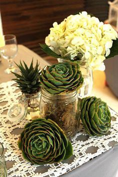 The sturdy succulent is fast becoming a favorite wedding detail.