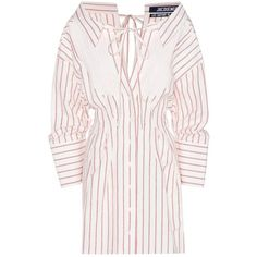 Jacquemus Striped Cotton and Linen Mini Dress featuring polyvore, women's fashion, clothing, dresses, beige, cotton linen dresses, beige short dress, short striped dress, striped mini dress and short dresses