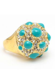 Studded Cocktail Ring In Turquoise  Sold at Rococo in Birmingham Michigan