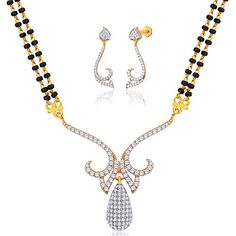 Viyari Legacy Love Holy Thread Cubic Zirconia Indian Mangalsutra 16 Inch Necklace Earrings Jewelry Set >>> Find out more about the great product at the image link.