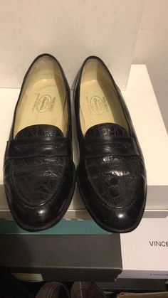 65953187aa Churchs Hand Made BLACK Leather with crocodile Inserts Penny Loafer-size  9.5M  fashion