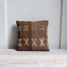 vintage kilim pillow.  muted pinks and brown ombre