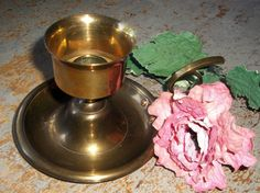 Vintage Brass Candle Holder Candlestick Solid Brass by TheBackShak