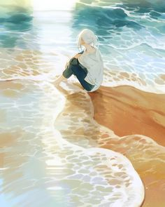 3 days march: a portfolio of illustration and more by Loika (Yan Qin Weng). Japon Illustration, Digital Illustration, Beach Illustration, Yuumei Art, Anime Scenery, Anime Art Girl, Aesthetic Art, Cartoon Art, Art Inspo