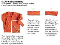 How to make fingerless gloves from old sweaters! I have a few in my goodwill pile that I can repurpose :)