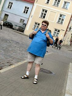 The German tourist - white tennis socks in sandals and functional clothing. Be prepared!