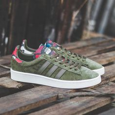 """adidas Campus """"Olive Cargo"""" is available to buy ONLINE now and is priced at £75.00. #adidas #adidasoriginals #campus #adidascampus #hanon"""